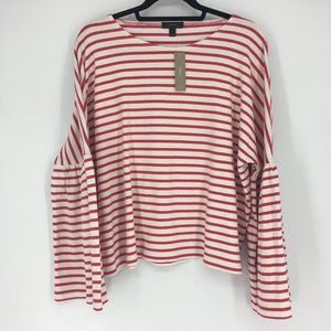 J. Crew Striped Bell Sleeve Top Red White Size XL